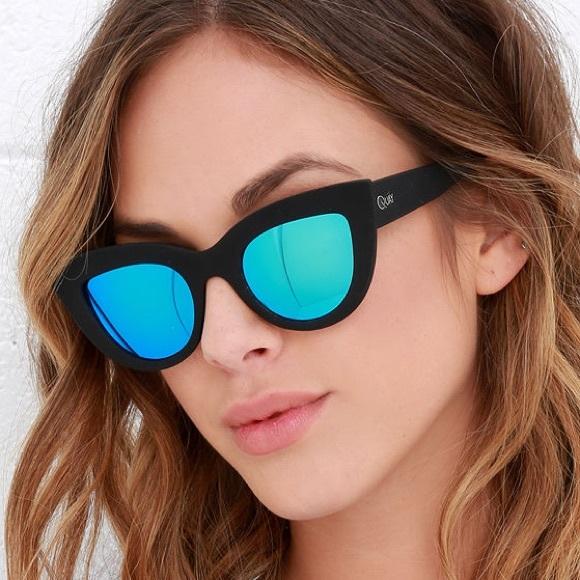 4605b2f97c9 NWOT Quay KITTI Cat Eye Sunglasses Black Blue NWT